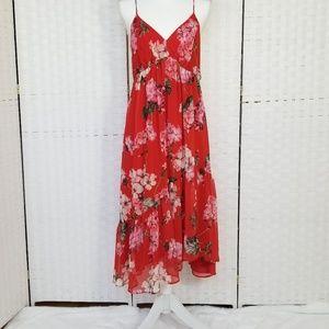 MANGO Floral Print Midi Slip Dress